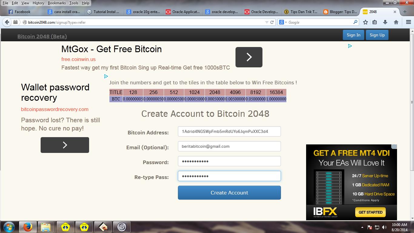 Halaman Pendaftaran Bitcoin2048 - Berita Bitcoin