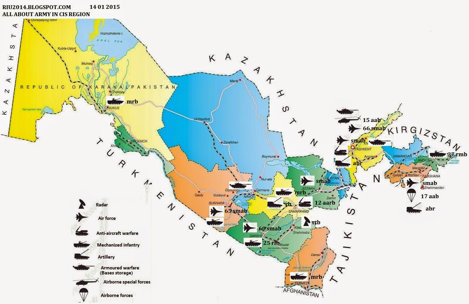 Armed Forces Of The Republic Of Uzbekistan Map And Structure - Uzbekistan map