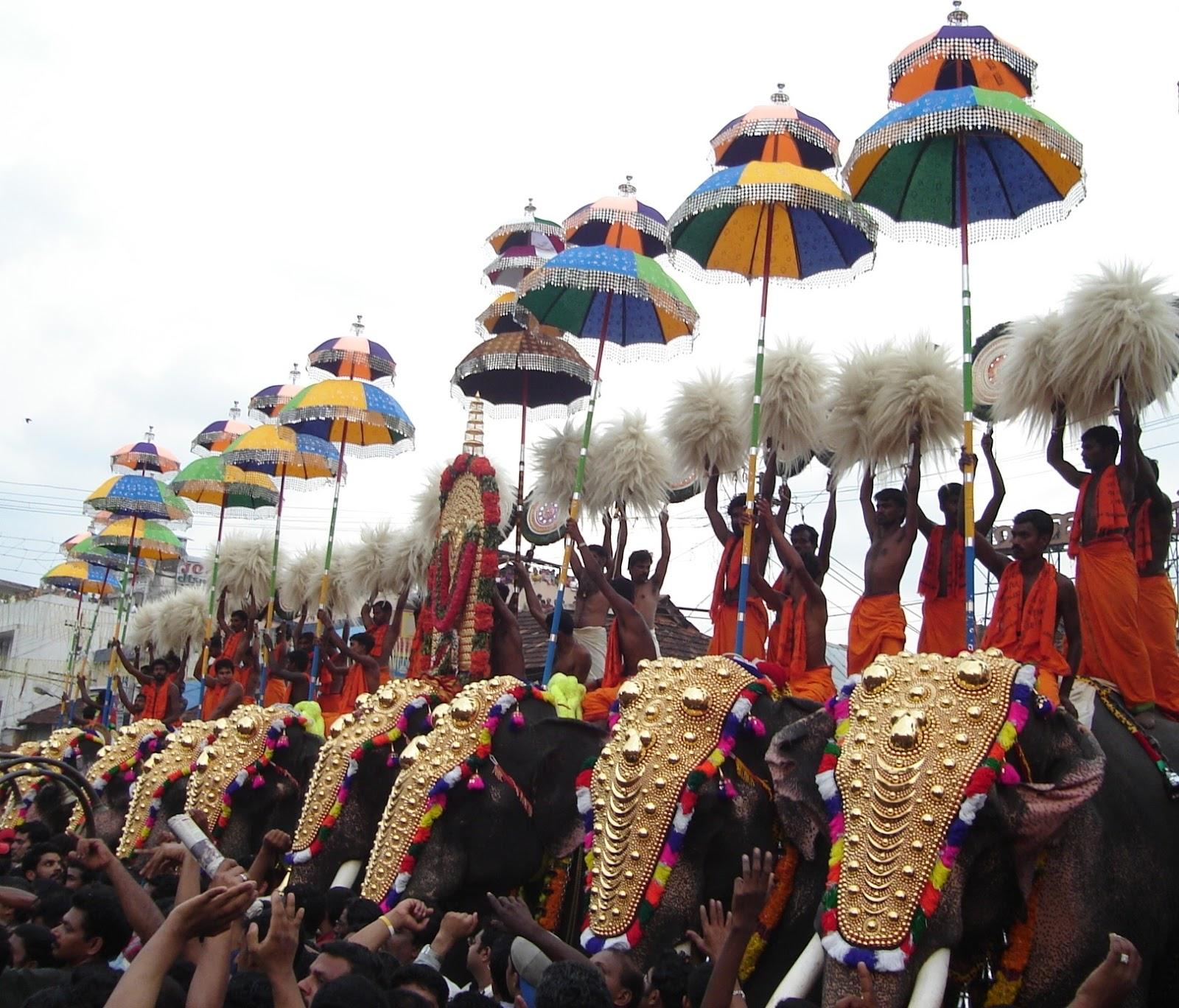 Lord Vadakkunnathan Malayalam festival in Vadakkunnathan Temple Thrissur Pooram HD Photos