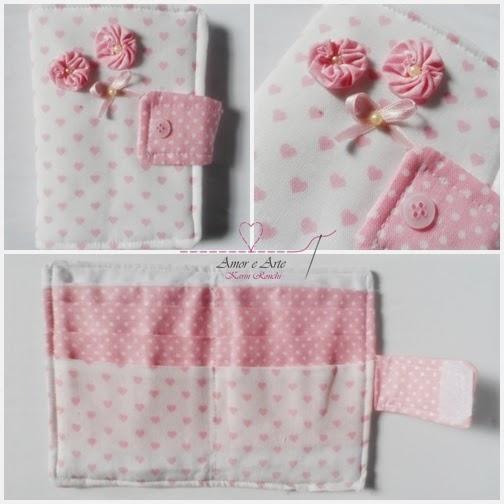 Carteira em tecido - Delicata 2 - Branco e Rosa Bebê, Poá e corações