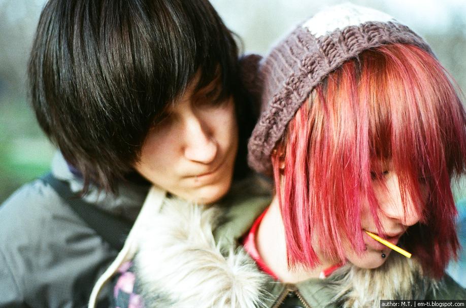 фото, портрет, парень, девушка, лицо, красные волосы