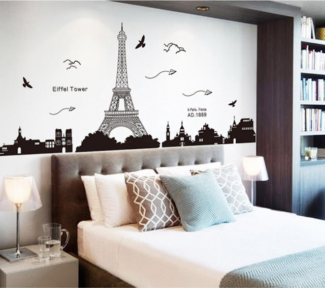 simple paris themed bedrooms with eiffel wall sticker behind headboard and modern single bed