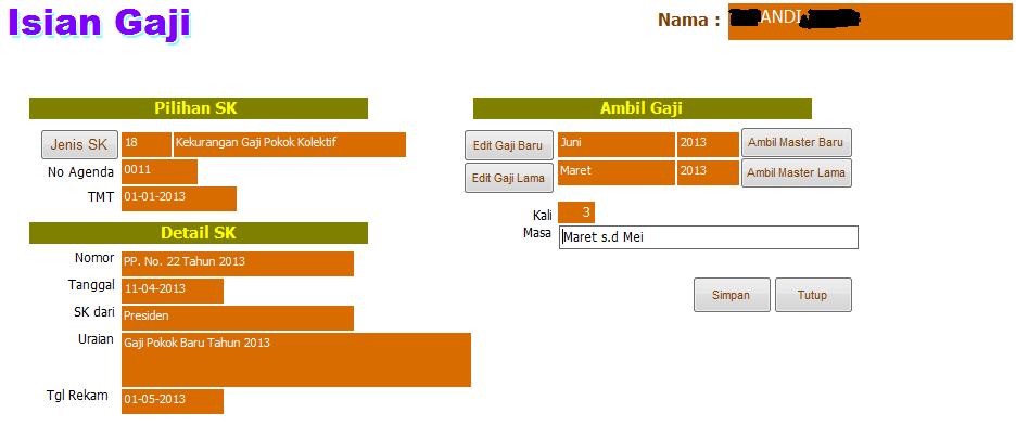 Cara Membuat Kekurangan Gaji di Aplikasi GPP 2013 (2)