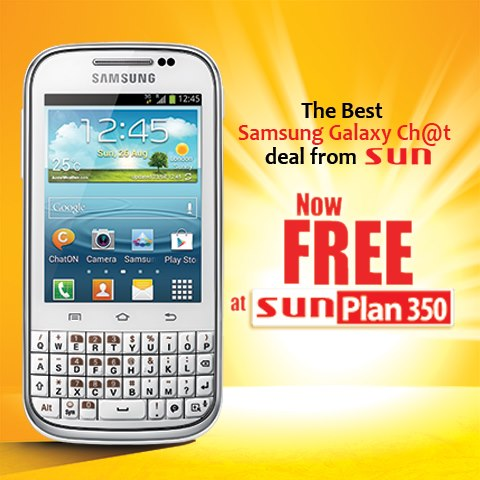 Samsung galaxy chat now available for free at sun cellular for Sun mobile plan