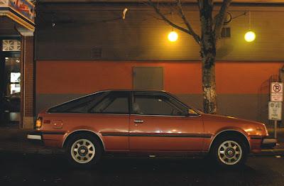 OLD PARKED CARS.: 1982 Datsun/Nissan Sentra Hatchback.