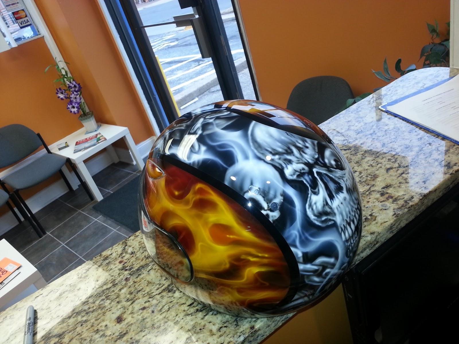 DEZ Customz  Custom Painted True Fire and Skulls Helmet