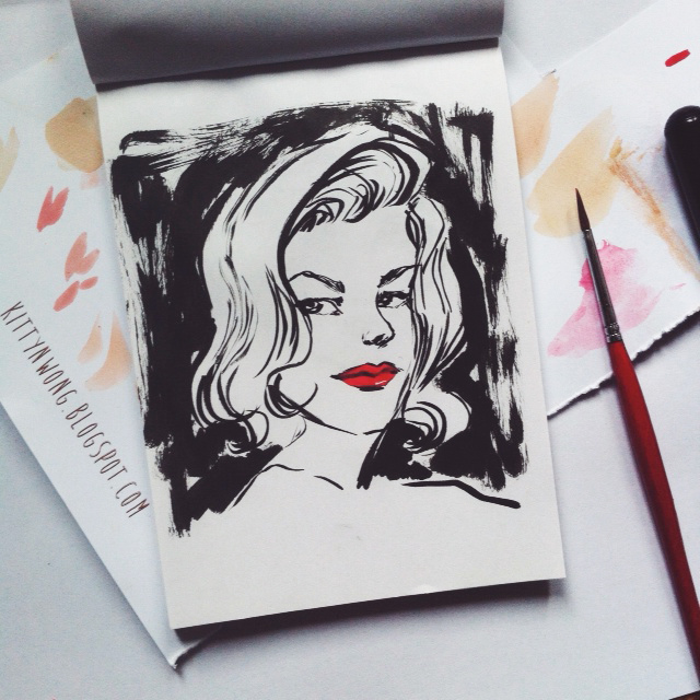 Kitty N. Wong / Lauren Bacall Pen and Ink Illustration