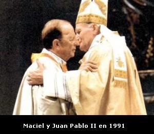 Postal de un espectáculo religioso obsceno - artículo escrito por Eduardo Febbro - publicado en Página/12 – abril de 2014   Maciel-y-Juan-Pablo-II-en-1991