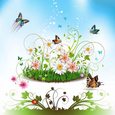 Fondo muy creativo para tu ipad y ipad 2 con flores y mariposas 1024x1024 wallpaper