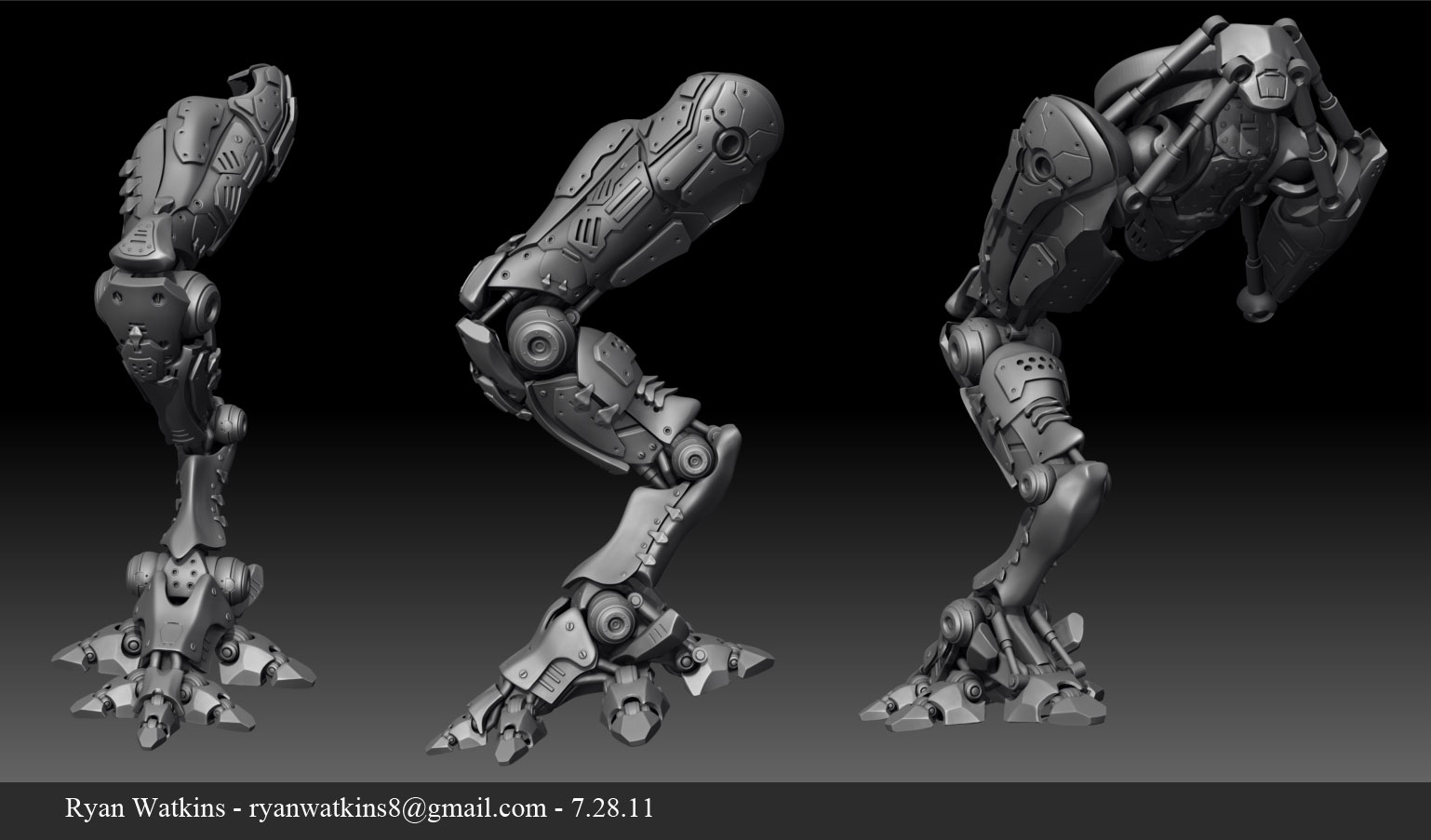 artwork of ryan watkins bio mech zbrush hard surface high poly bio mech zbrush hard surface high poly model
