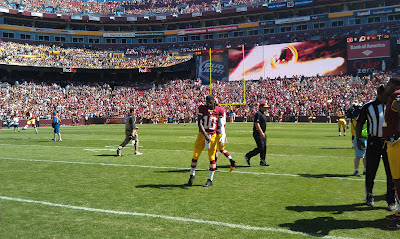 Robert Griffin III warming up on FedEx Field before kickoff