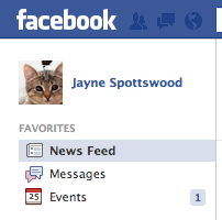 Facebook home page shows new event invite, so I click on Events application.