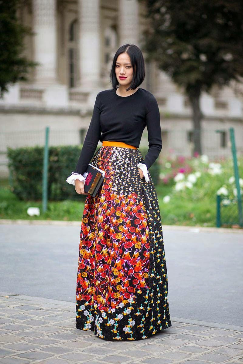 Moda de rua - Tendências primavera-verão 2015 saias