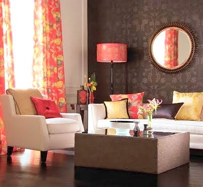Design Modern Home on This Wallpaper Is Popping With Bright Punches Of Pink And Orange  The