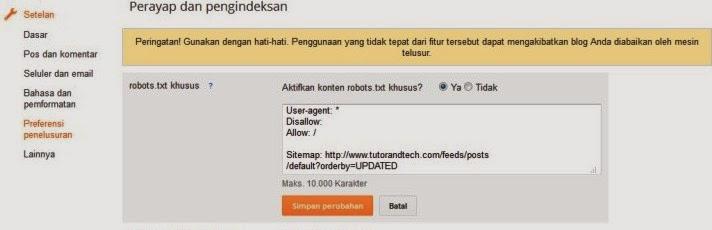Cara Menambahkan file Robots.txt di Blogger