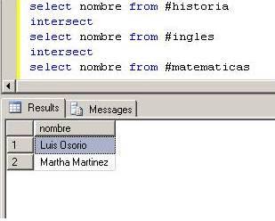 Intersection en SQL Server 2005