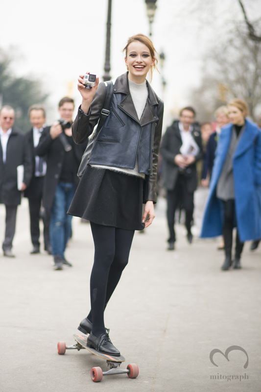Model Jade de Lavareille leaves Chanel 2015-2016 Fall WInter show during Paris Fashion Week PFW