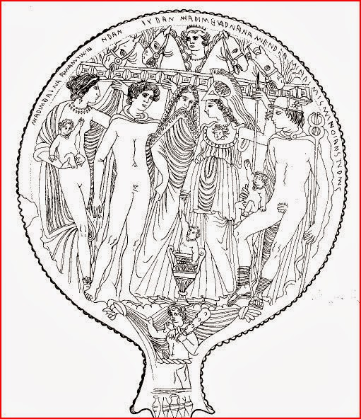 Engraved bronze Etruscan mirror by anonymous artist