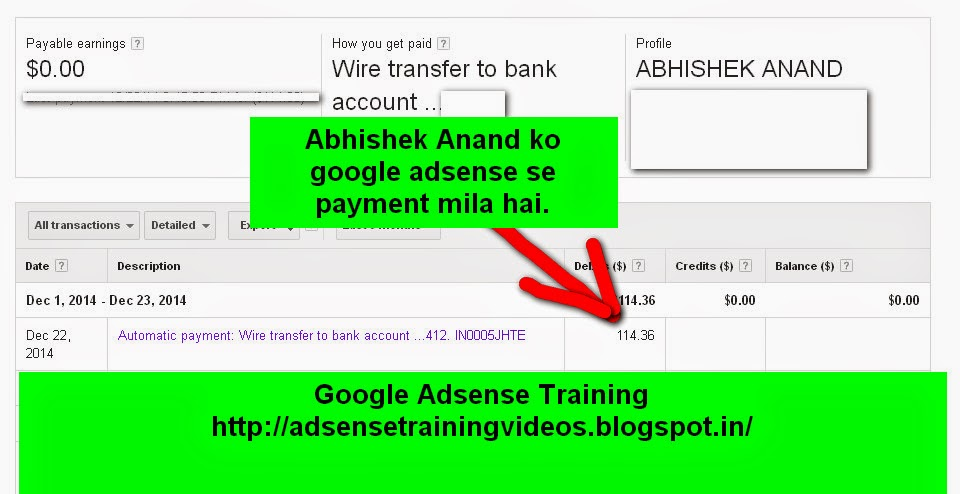 Mujhe 22 December ko Google Adsense se $114 ka payment mila hai aur main bahut hi jyada khush hu - Income proof
