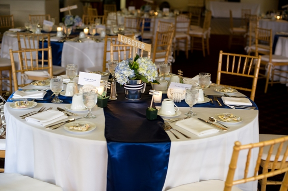 Navy Stripe Table Runner Over White Round Tablecloth Very