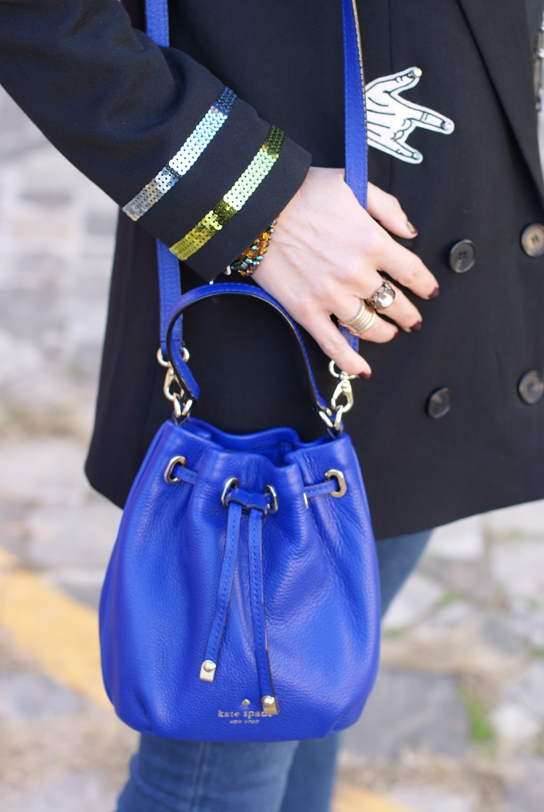 Kate Spade New York blue lapis mini bucket bag on Fashion and Cookies fashion blog