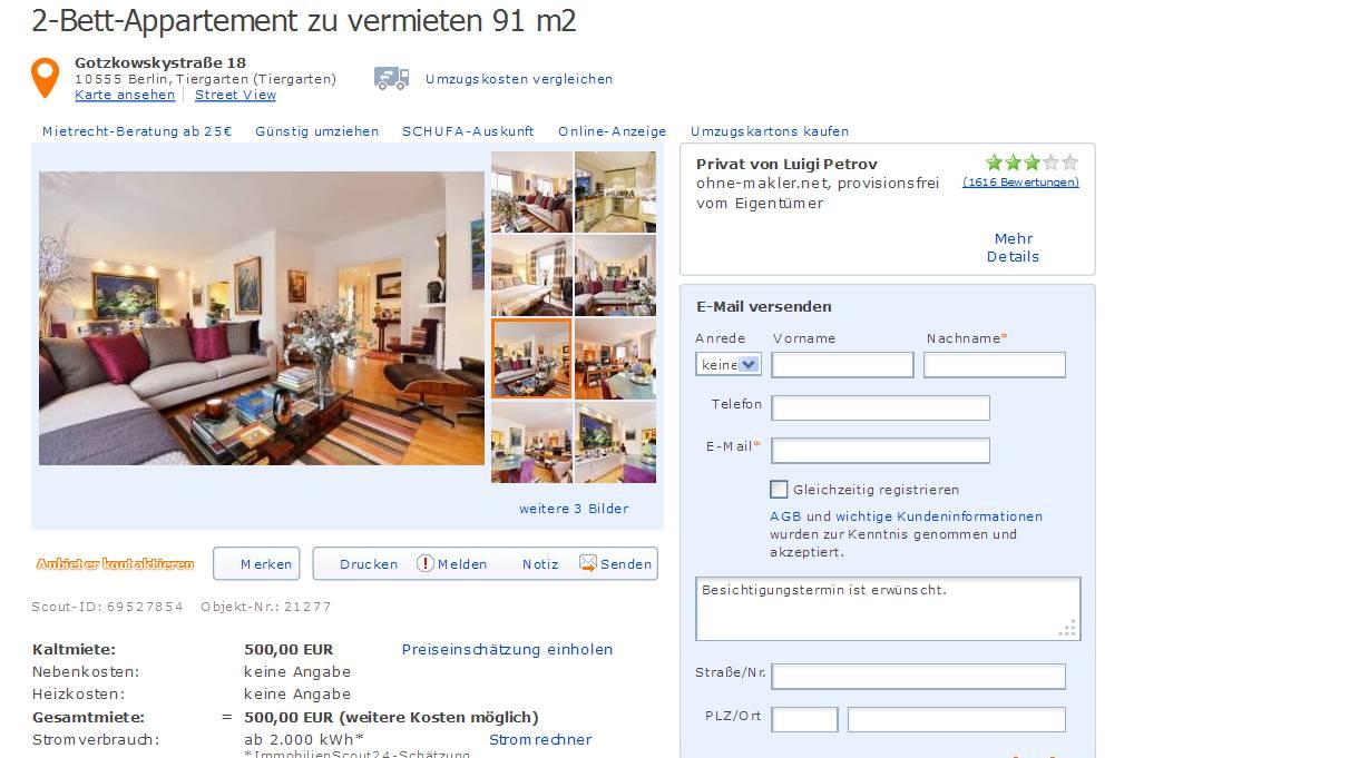 alias luigi petrov 2 bett appartement zu vermieten 91 m2 gotzkowskystra e 18 10555 berlin. Black Bedroom Furniture Sets. Home Design Ideas