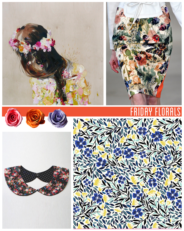 collage of floral items