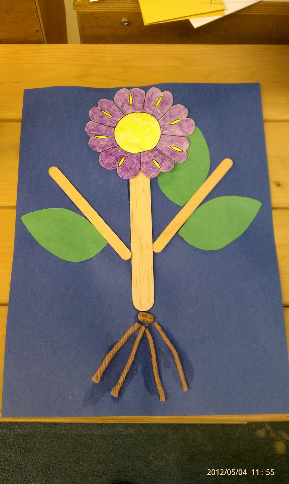 Plants arts and crafts - This Is My Example We Used A Bean Seed As Our Seed Yarn For The Roots Tongue Depressors For The Stem Popsicle Sticks For The Branches Paper Cut Outs