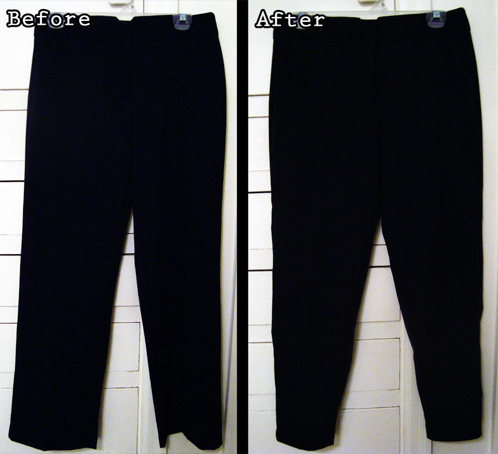 JWo Designs: [TUTORIAL] Dress Pants to Skinny Ankle (Cigarette) Pants