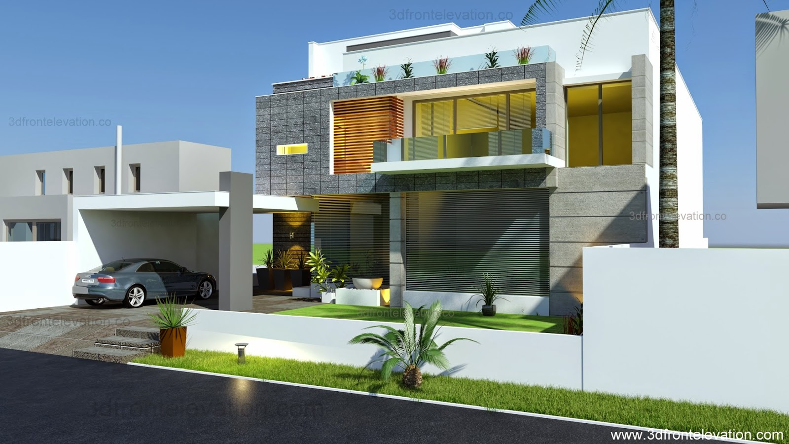 3d front beautiful modern contemporary for Modern beautiful house