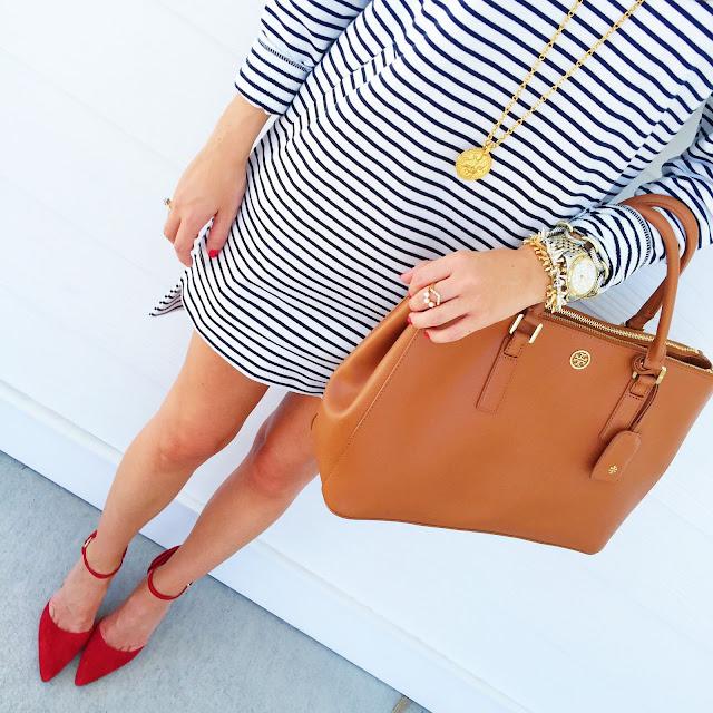 Striped dress + red heels