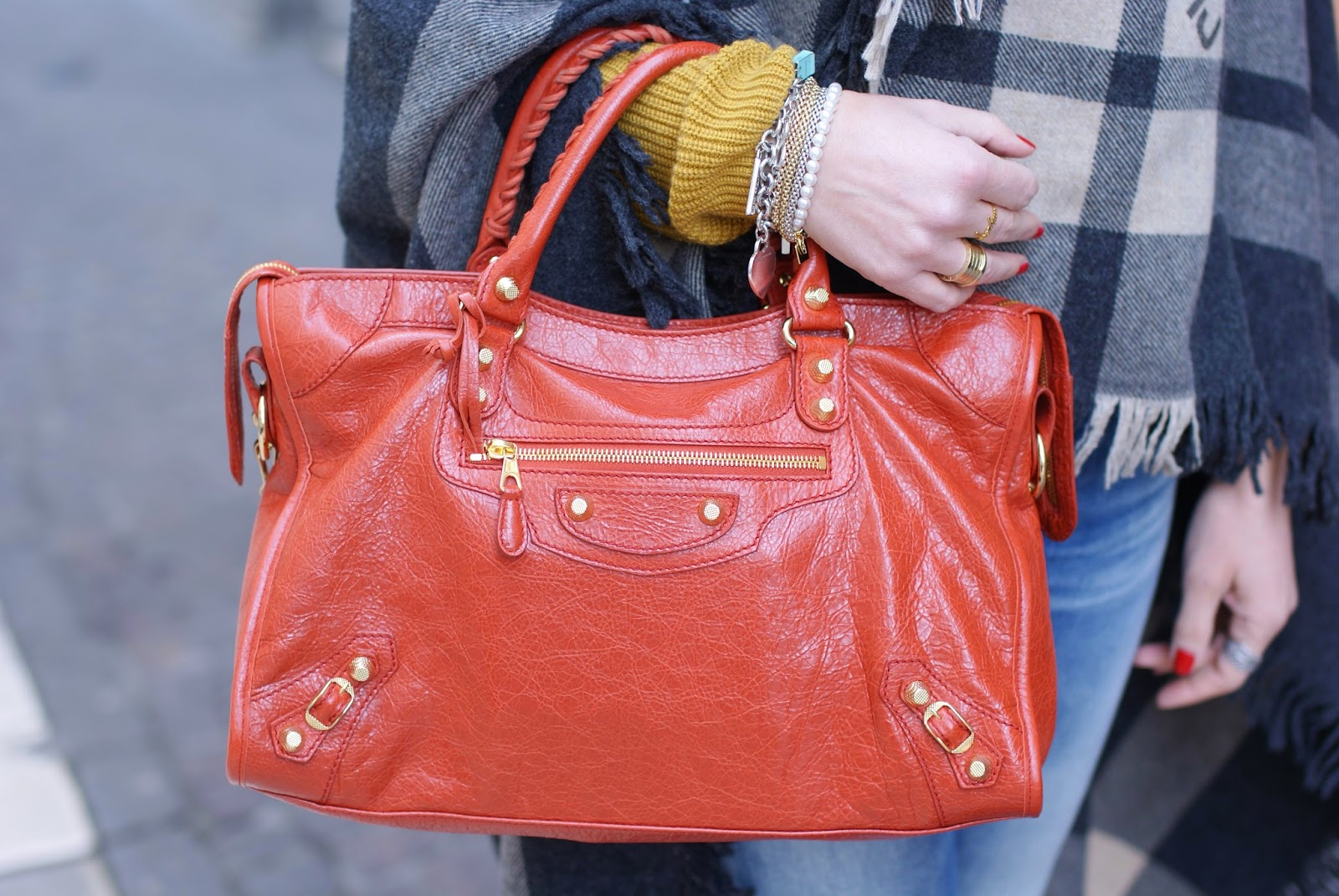 Balenciaga City bag in rouge ambre on Fashion and Cookies fashion blog