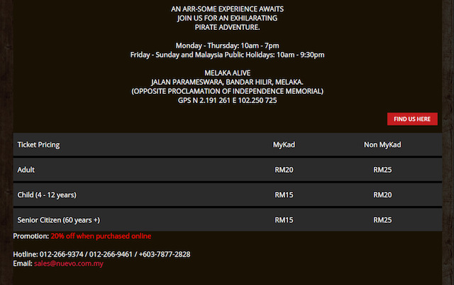 Ticket pricing for Melaka Alive