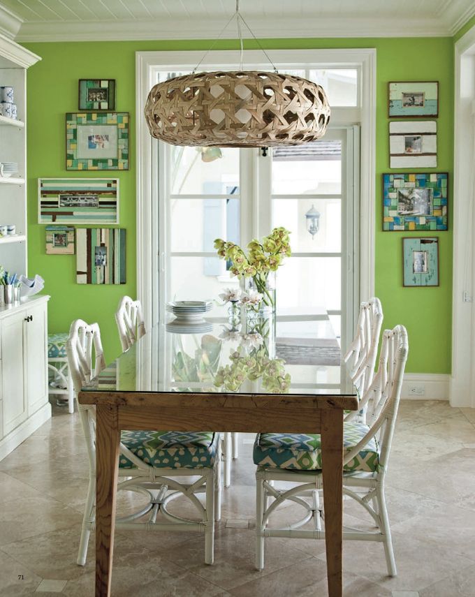 blue and green dining room | room design inspirations