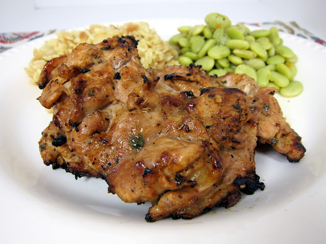 Grilled Dijon Chicken Thighs - boneless chicken thighs marinated in dijon, garlic, balsamic vinegar and rosemary. This chicken has SO much flavor! We always double the recipe so we have leftovers.