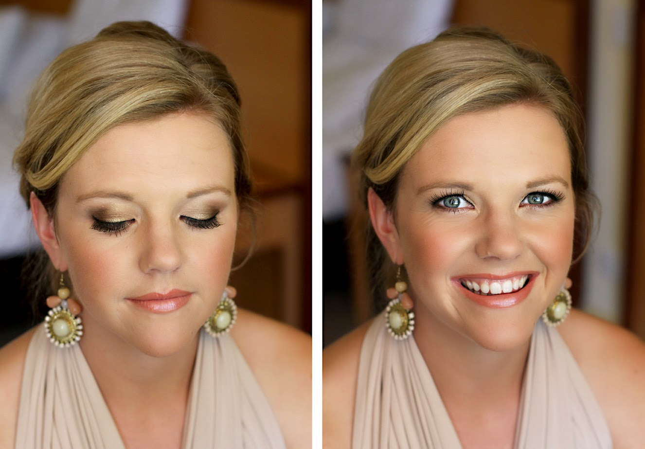 Bohemian Makeup, natural bronze & brown eyeshadow, bridesmaid or bridal makeup. Makeup by Katie Dawson from Perle Jewellery & Makeup