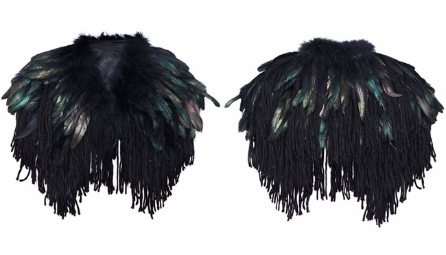 Romwe Black Feathers Embellished Shawl Vest