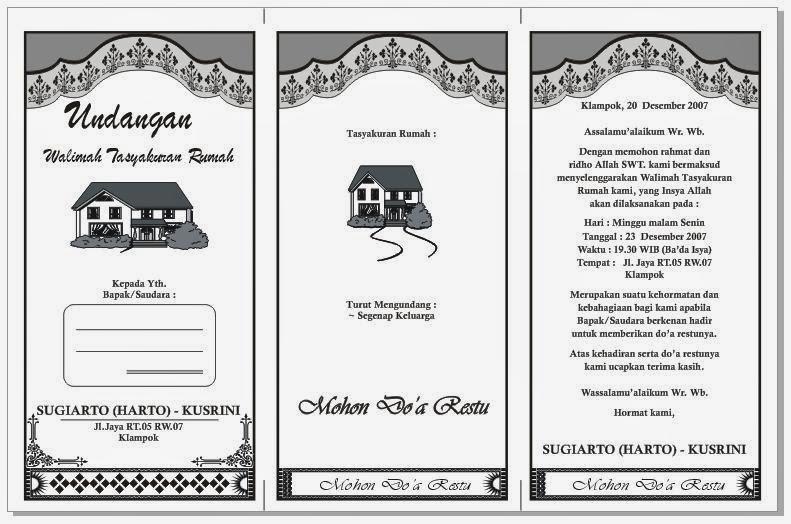 Download Gratis Contoh Undangan Walimah Tasyakuran Rumah HVS 3 Kolom ...