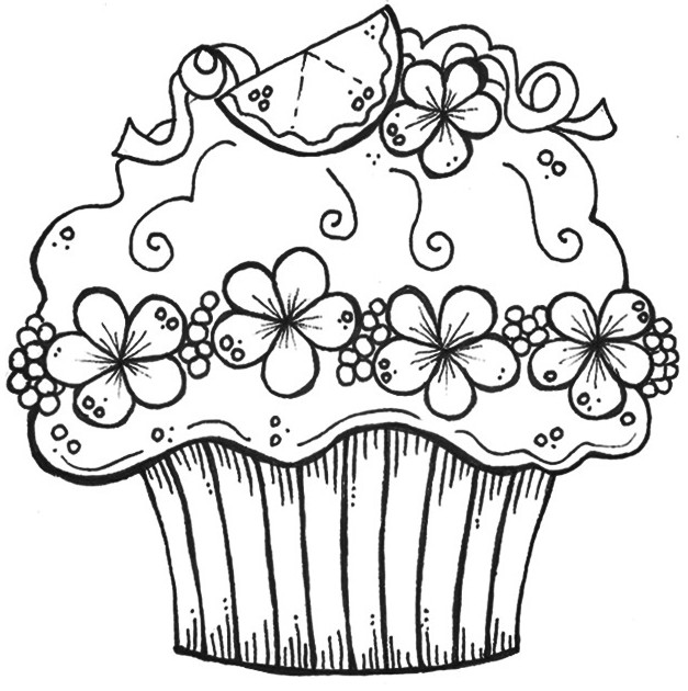 Colouring Images Of Cupcake : Zentangle Cupcake Coloring Pages Adult Coloring Pages