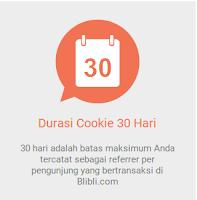 30 hari adalah batas maksimum kita tercatat sebagai referrer per pengunjung yang bertransaksi di Blibli.com