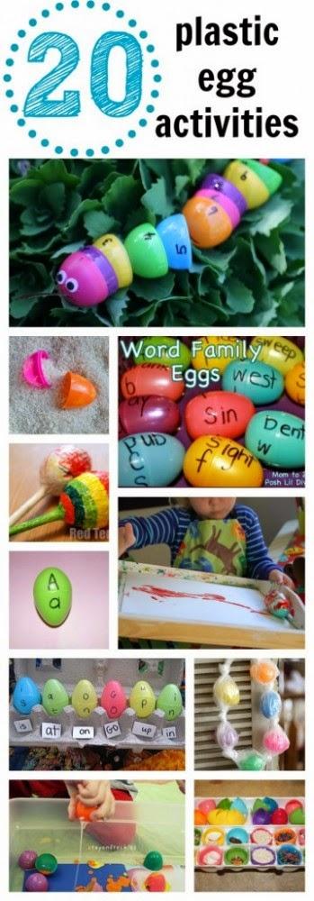 http://www.icanteachmychild.com/2013/04/20-plastic-egg-activities/