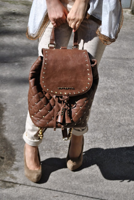 outfit zainetto fornarina come abbinare lo zainetto borsa zainetto backpack outfit backpack how to wear backpack outfit primaverili outfit maggio 2015 spring outfit brown backpack brown bag fashion bloggers italy fashion blog italiani blog di moda blogger italiane di moda