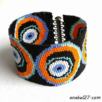 rpeyote cuff beaded bracelet beadwork wide jewelry eyes halloween
