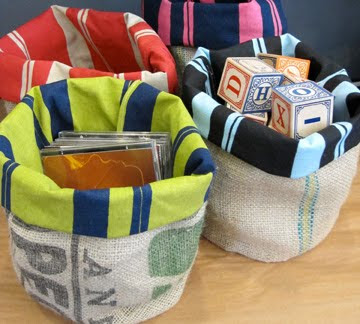 storage baskets from recycled coffee sacks