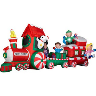 peanuts snoopy express train 13 wide animated christmas airblown inflatable - Snoopy Outdoor Christmas Decorations