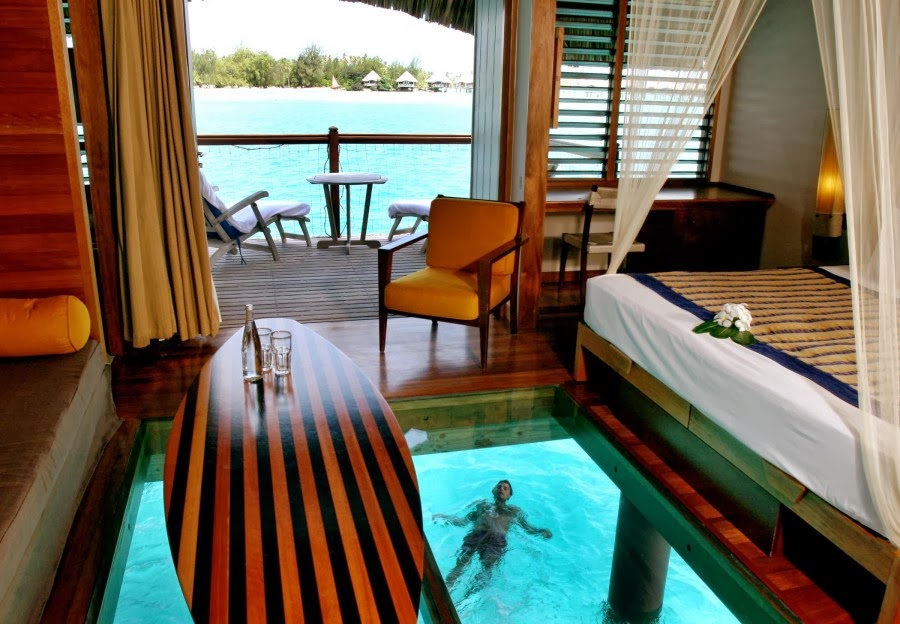 Vacation Inspiration # 821 - Bora Bora's Glass Bottom Huts