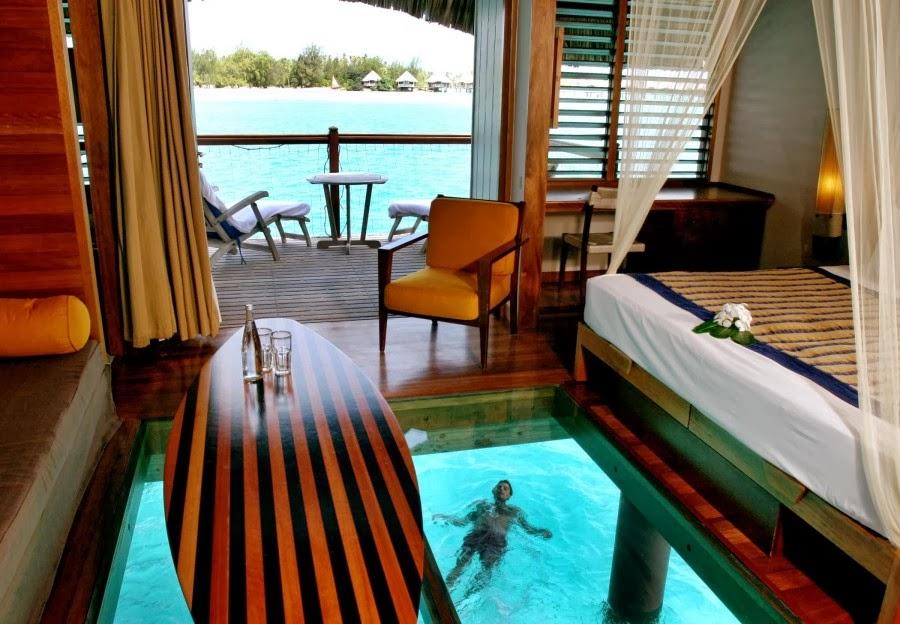 Vacation Inspiration # 821 - Bora Bora's Glass Bottom Huts