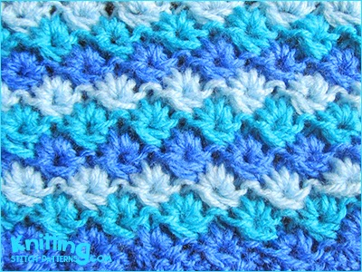 Color Knitting Patterns : Three Color Daisy Stitch Knitting Stitch Patterns