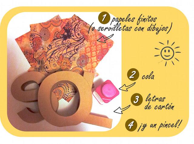Materiales necesarios para crear sol decopatch