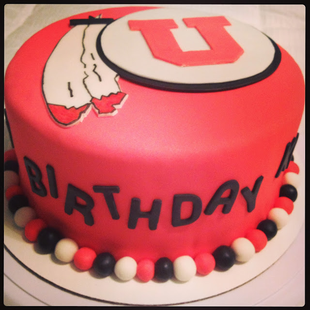 Red Fondant Utah Utes Cake 40th Birthday Celebration